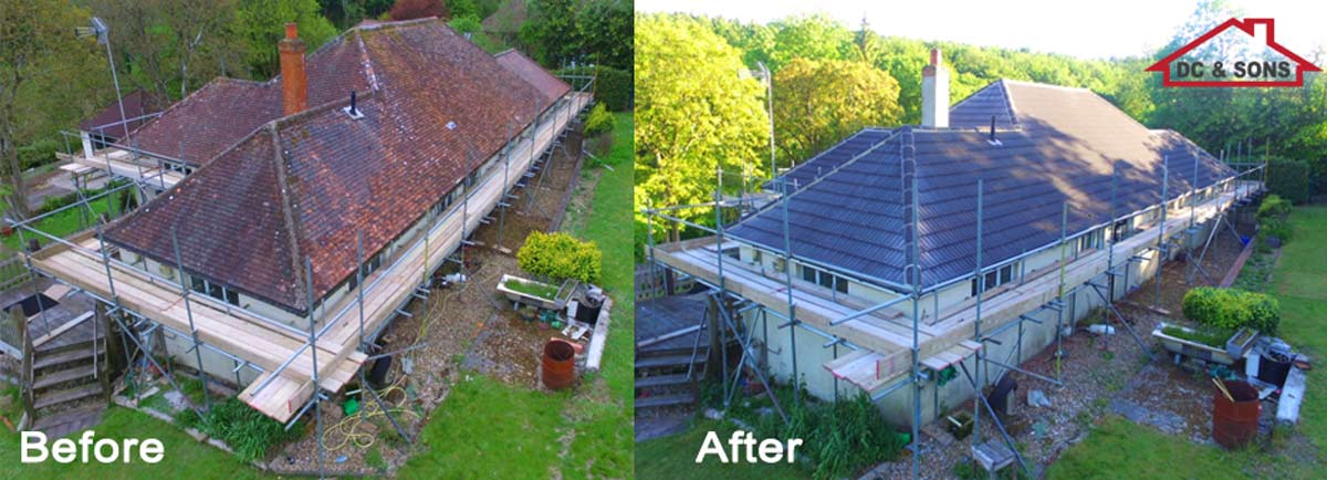roof tiles replaced before and after