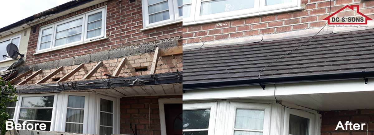 soffits and roof replaced before and after